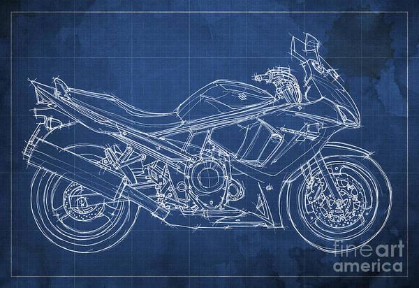 White Background Drawing - Suzuki Gsx 650f 2011 Blueprint by Drawspots Illustrations