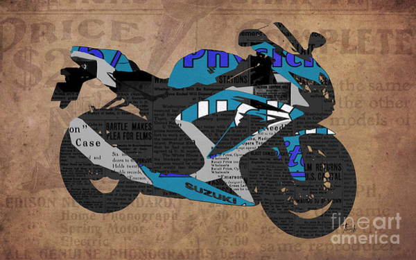 Garage Decor Mixed Media - Suzuki Motorcycle And The Old Newspapers by Drawspots Illustrations