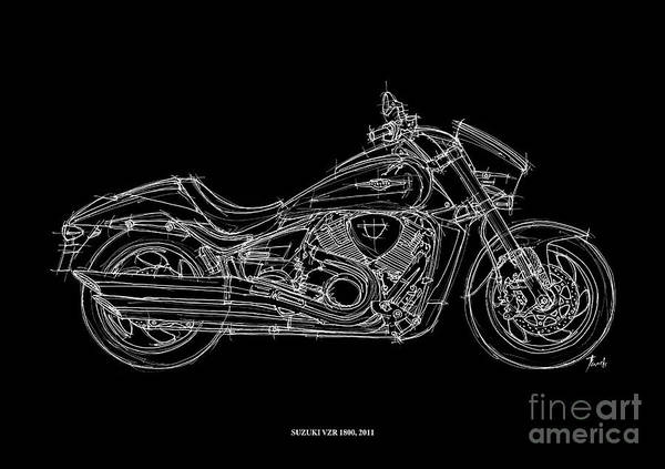 Line Drawing Painting - Suzuki Vzr 1800 - 2011 by Drawspots Illustrations