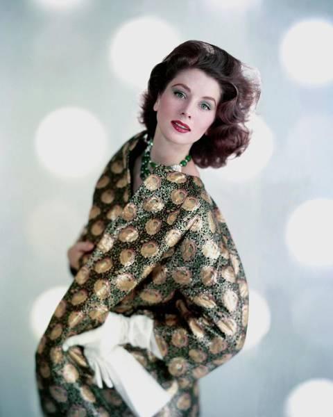 Red Coat Photograph - Suzy Parker In A Original Coat by Karen Radkai
