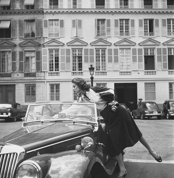 Black Car Photograph - Suzy Parker Outside The French Vogue Office by Jacques Boucher
