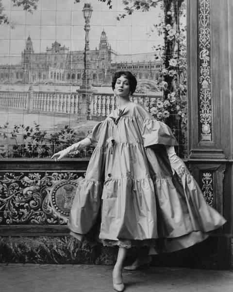 Suzy Parker Wearing A Coat By Pertegaz Art Print by Henry Clarke