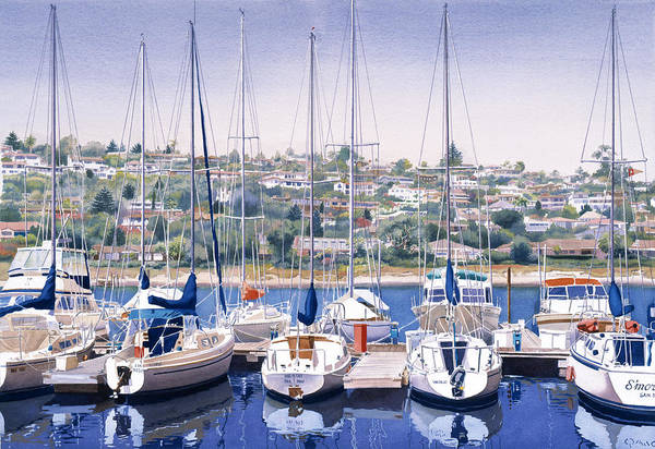 Yacht Wall Art - Painting - Sw Yacht Club In San Diego by Mary Helmreich