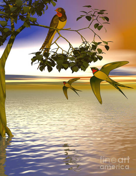 Swallows At Sundown Art Print by Sandra Bauser Digital Art