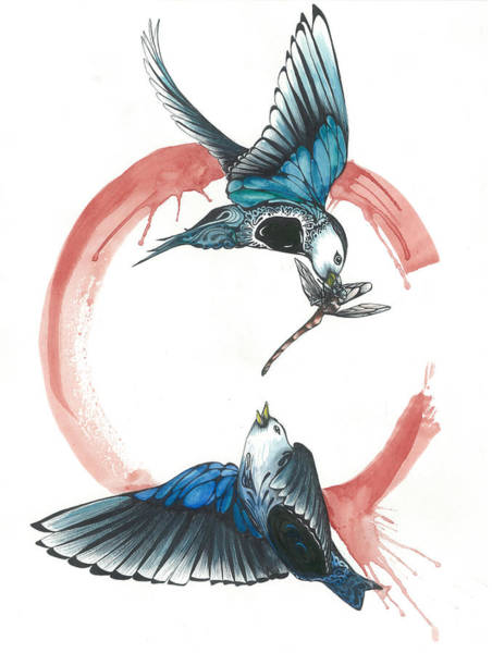 Bird Watercolor Mixed Media - Swallows Fighting Over Dragonfly by Gregory Ellis