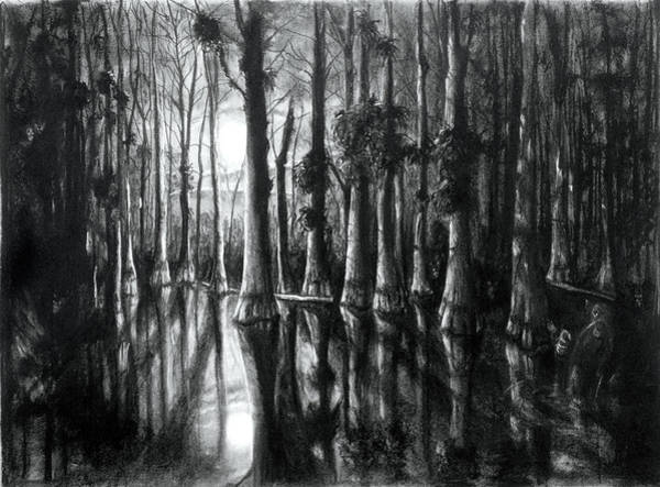 Drawing - Swamp At Night by William Underwood