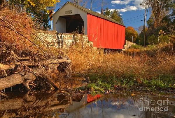 Photograph - Swamp Creek Covered Bridge Reflections by Adam Jewell
