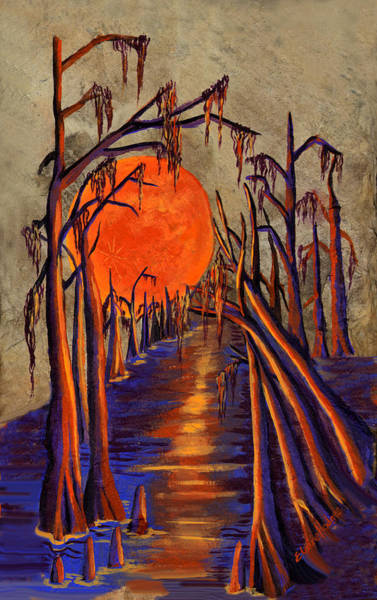 Slate Painting - Swamp Moon  by Elaine Hodges