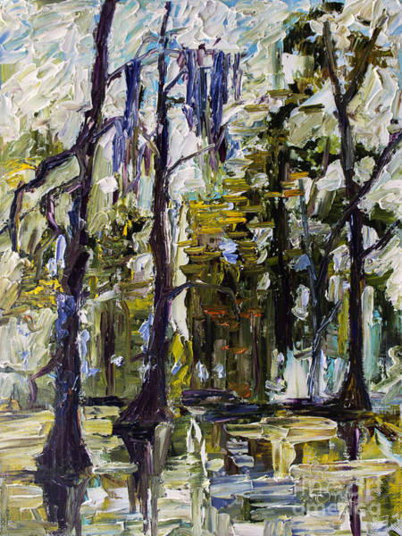 Painting - Swamp Morning Cypress Trees Oil Painting by Ginette Callaway