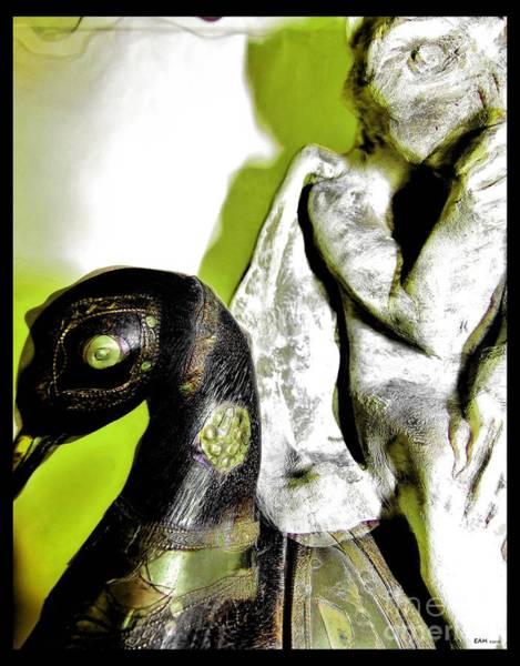 Gargoyle Digital Art - Swan And Gargoyle by Elizabeth McTaggart