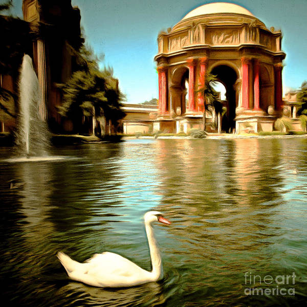 Photograph - Swan At The San Francisco Palace Of Fine Arts 5d18069 Square by Wingsdomain Art and Photography