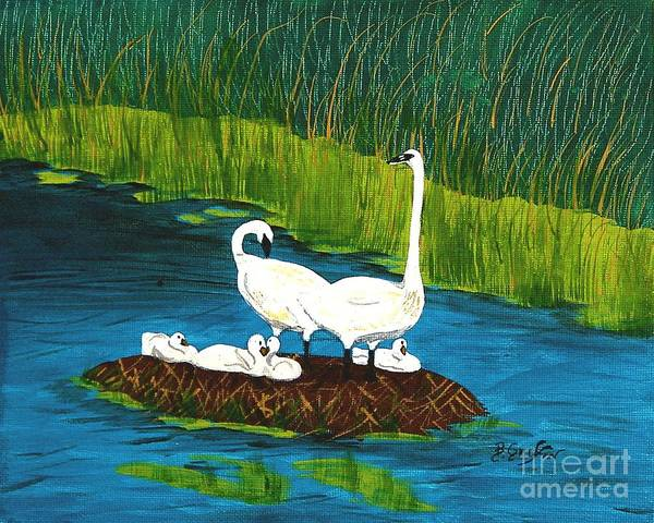Mate For Life Painting - Swan Family by Barbara Griffin