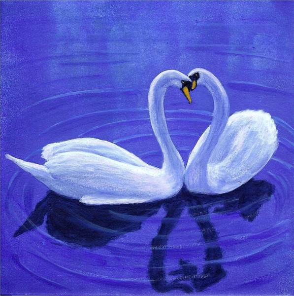 Painting - Swan Hearts by Fran Brooks