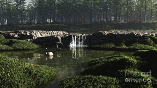 Fairy Pools Digital Art - Swan Lake by Fairy Fantasies