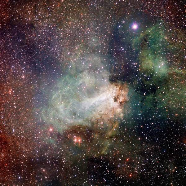 Omega Photograph - Swan Nebula (m17) by Inaf-vst/omegacam/european Southern Observatory/science Photo Library