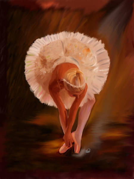 Finger Paint Painting - Swan Warming Up 1 by Angela Stanton