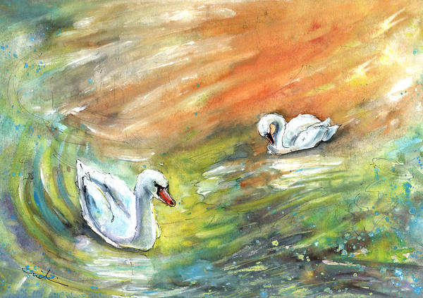 Painting - Swans From Bergamo by Miki De Goodaboom