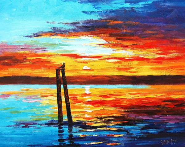 Sunrise Painting - Swansea Sunset by Graham Gercken