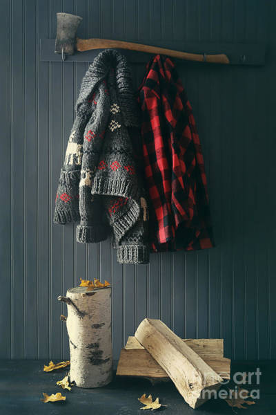 Photograph - Sweater Jacket Hanging With Firewood With Axe by Sandra Cunningham