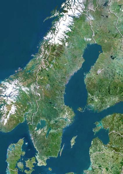 Landsat 7 Wall Art - Photograph - Sweden by Planetobserver/science Photo Library