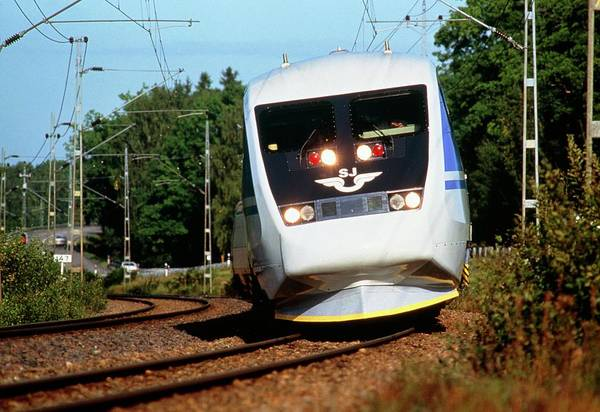 High Speed Photograph - Swedish X2000 High-speed Train by Martin Bond/science Photo Library