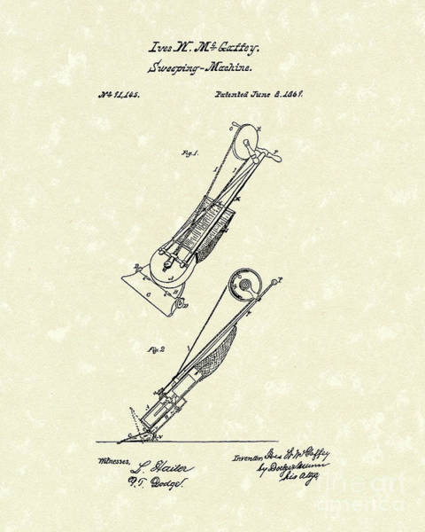 Drawing - Sweeping Machine 1869 Patent Art by Prior Art Design
