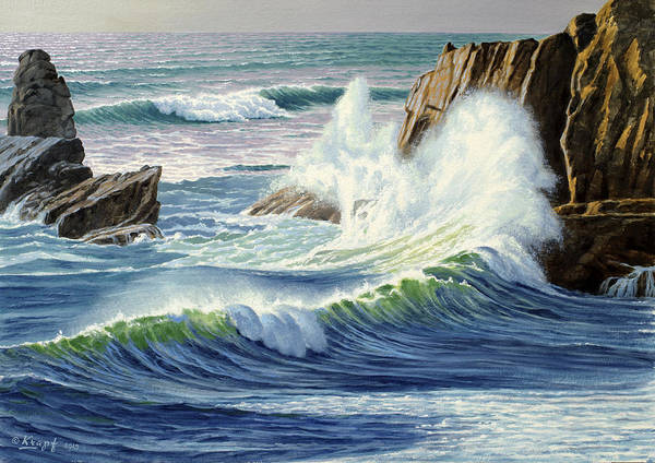 Oregon Coast Wall Art - Painting - Sweeping Surf by Paul Krapf
