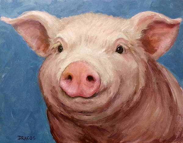 Pig Painting - Sweet Baby Pig Portrait by Dottie Dracos