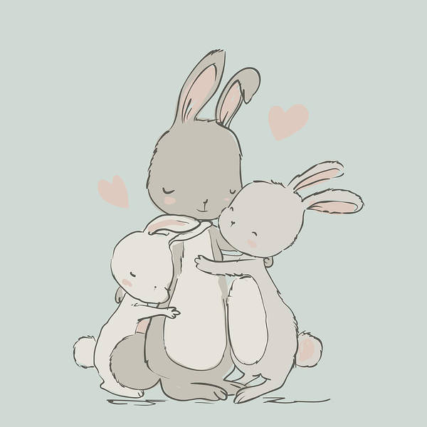 Daughter Digital Art - Sweet Hares - Mom And Kids by Cofeee