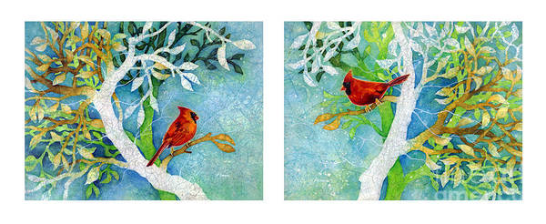 Songbird Painting - Sweet Memories Diptych by Hailey E Herrera