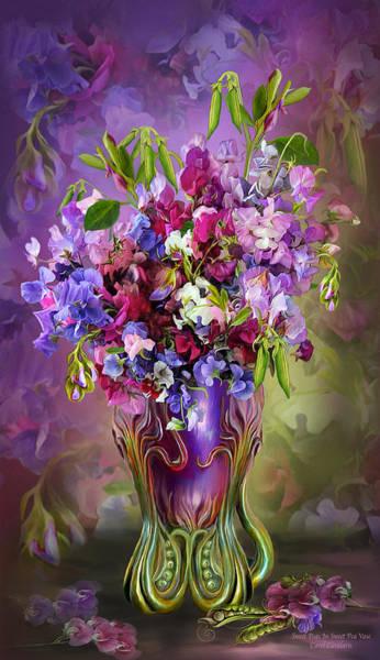 Mixed Media - Sweet Peas In Sweet Pea Vase by Carol Cavalaris