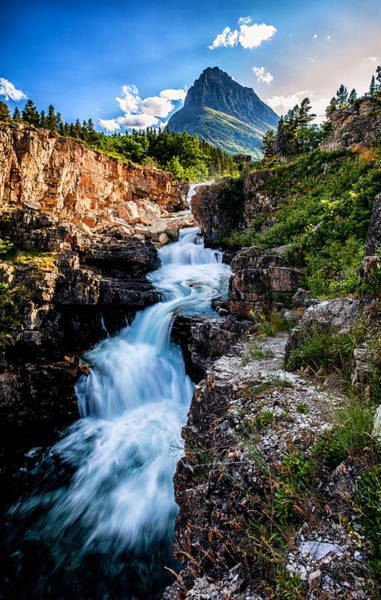 Montana Photograph - Swiftcurrent Falls by Aaron Aldrich