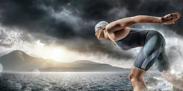 Endurance Race Photograph - Swimmer About To Dive In Sea by Peepo