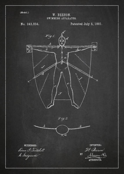 Wall Art - Digital Art - Swimming Apparatus Patent Drawing From 1881 by Aged Pixel