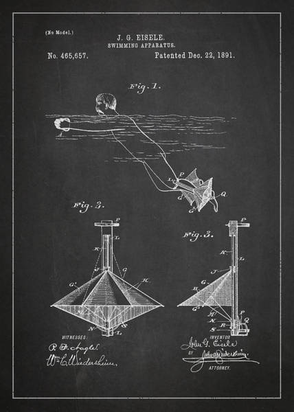 Wall Art - Digital Art - Swimming Apparatus Patent Drawing From 1891 by Aged Pixel