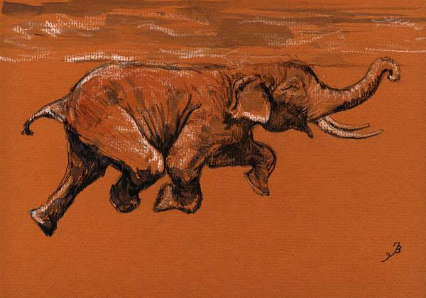 Swimming Painting - Swimming Elephant by Juan  Bosco