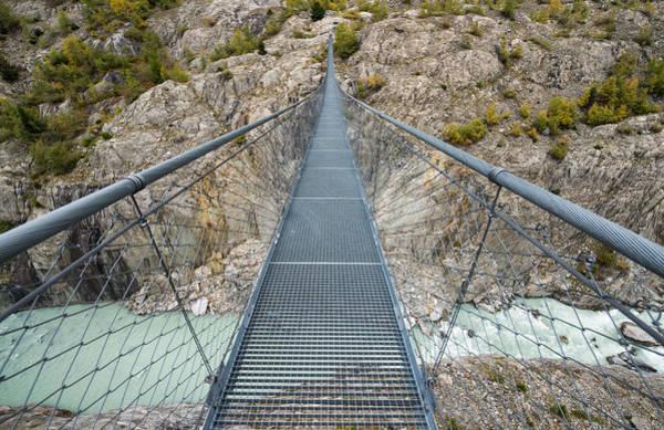 Photograph - Swing Bridge Massaschlucht Swiss Alps Switzerland by Matthias Hauser