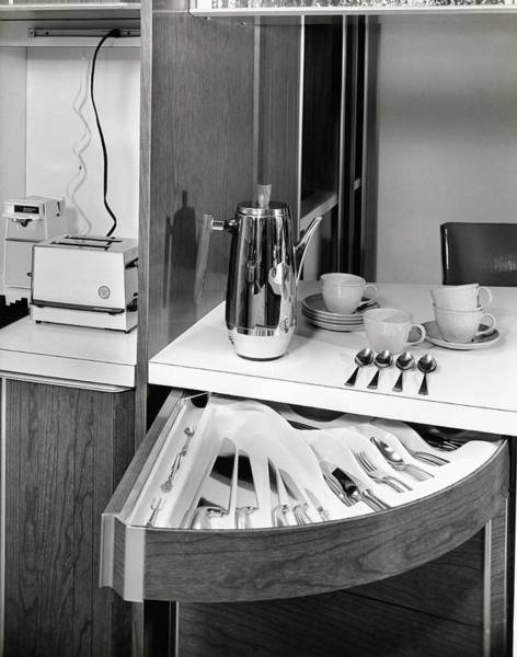 Jug Photograph - Swing Out Draws In A Kitchen by Pedro E. Guerrero