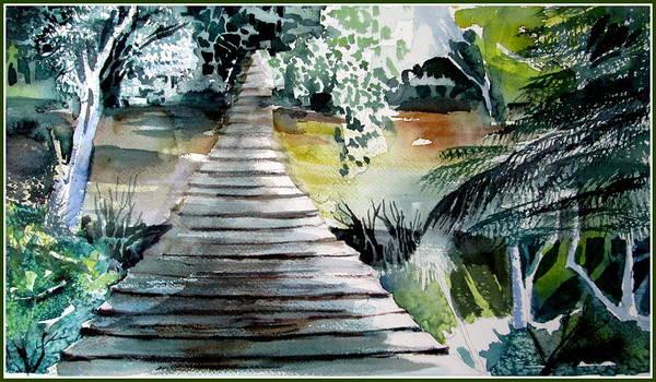 Wall Art - Painting - Swinging Bridge by Mindy Newman