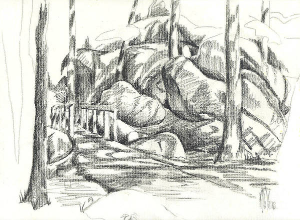 Arcadia Drawing - Swirling Cast Shadows At Elephant Rocks  No Ctc101 by Kip DeVore