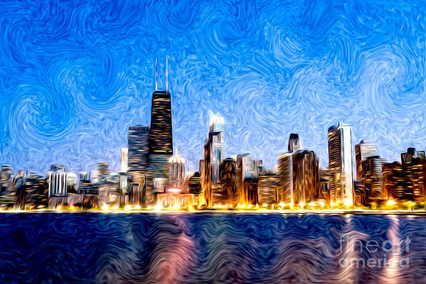Swirly Chicago At Night Art Print
