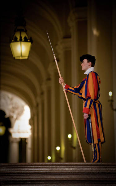 Wall Art - Photograph - Swiss Guard In Uniform At St-peters by Guylain Doyle