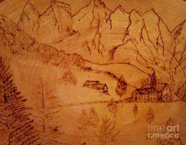 Pyrography - Swiss Hotel by Neil Stuart Coffey