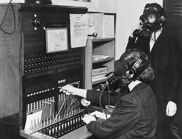 Wall Art - Photograph - Switchboard Gas Masks by Underwood Archives