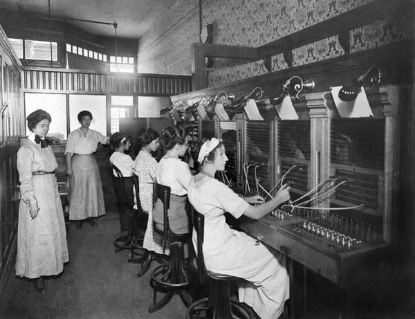 1911 Photograph - Switchboard Operators by Underwood Archives