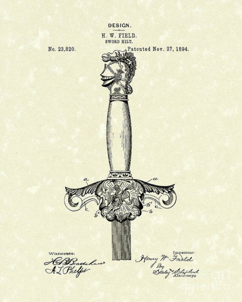 Drawing - Sword Hilt 1894 Patent Art by Prior Art Design