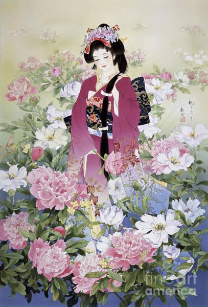 Kimono Digital Art - Syakuyaku by MGL Meiklejohn Graphics Licensing