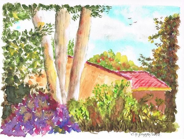 Sycamore Painting - Sycamore Springs Hotel Gardens In Avila Beach - California by Carlos G Groppa
