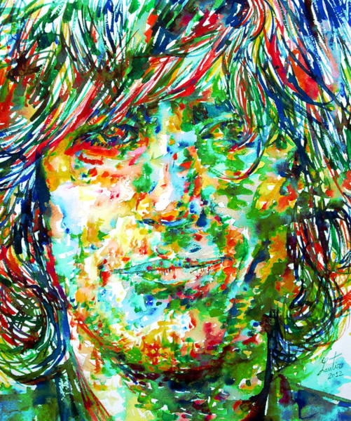 Pink Floyd Painting - Syd Barrett - Watercolor Portrait by Fabrizio Cassetta
