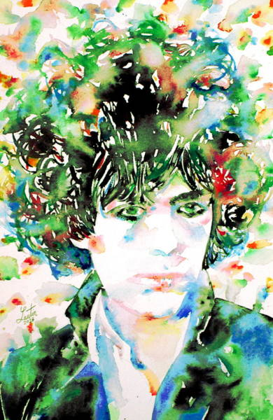 Pink Floyd Painting - Syd Barrett Watercolor Portrait.1 by Fabrizio Cassetta